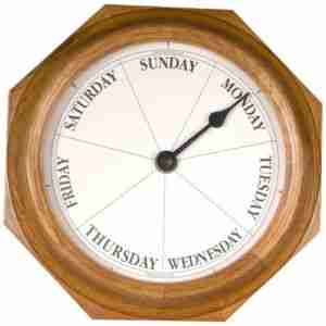 Day of the Week Clock - Classic Oak